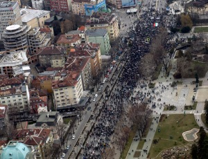 Aerial view shows demonstrators as they march during protest against high utility bills and monopolies in the energy sector in Sofia