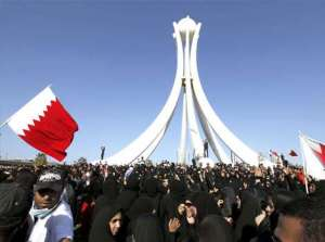 Protesters in Pearl Roundabout, Manama Bahrain